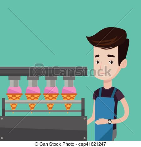 EPS Vector of Worker of factory producing ice.