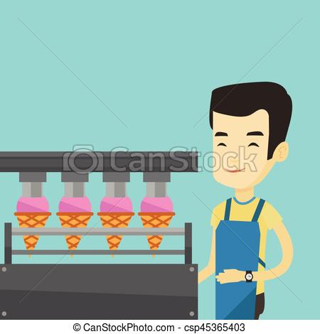 Vector Clipart of Worker of factory producing ice.