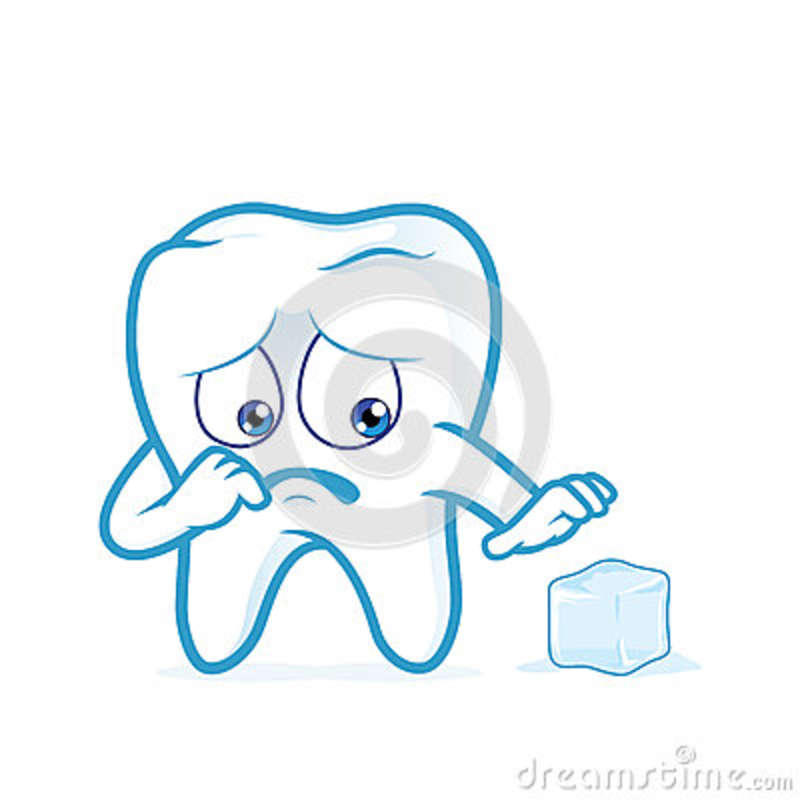 Sensitive Tooth Scared Of A Ice Stock Vector.