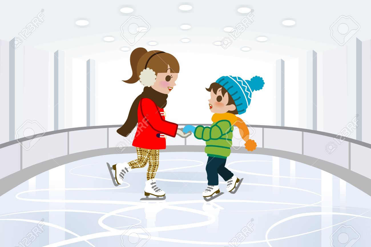 Two Kids In Indoor Skating Rink Royalty Free Cliparts, Vectors.