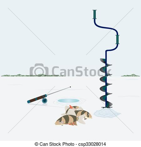 Vector Clip Art of Winter fishing.