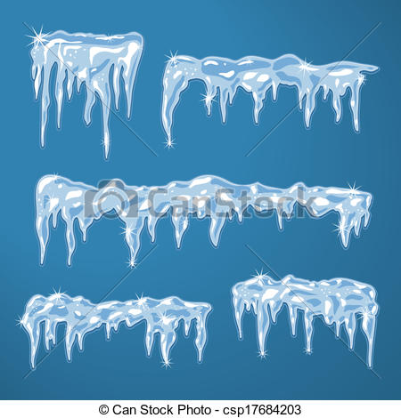 Vector Clipart of Ice sheets with icicles and snowflakes vector.