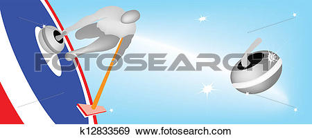 Clip Art of Athlete Playing Curling Sport on Ice Sheet k12833569.