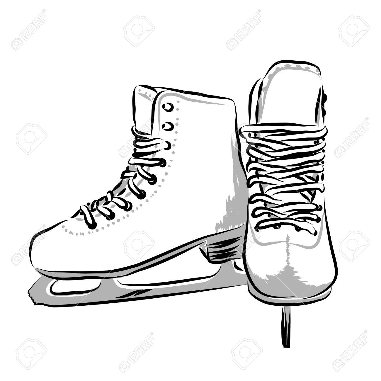 Ice Skate Drawing.