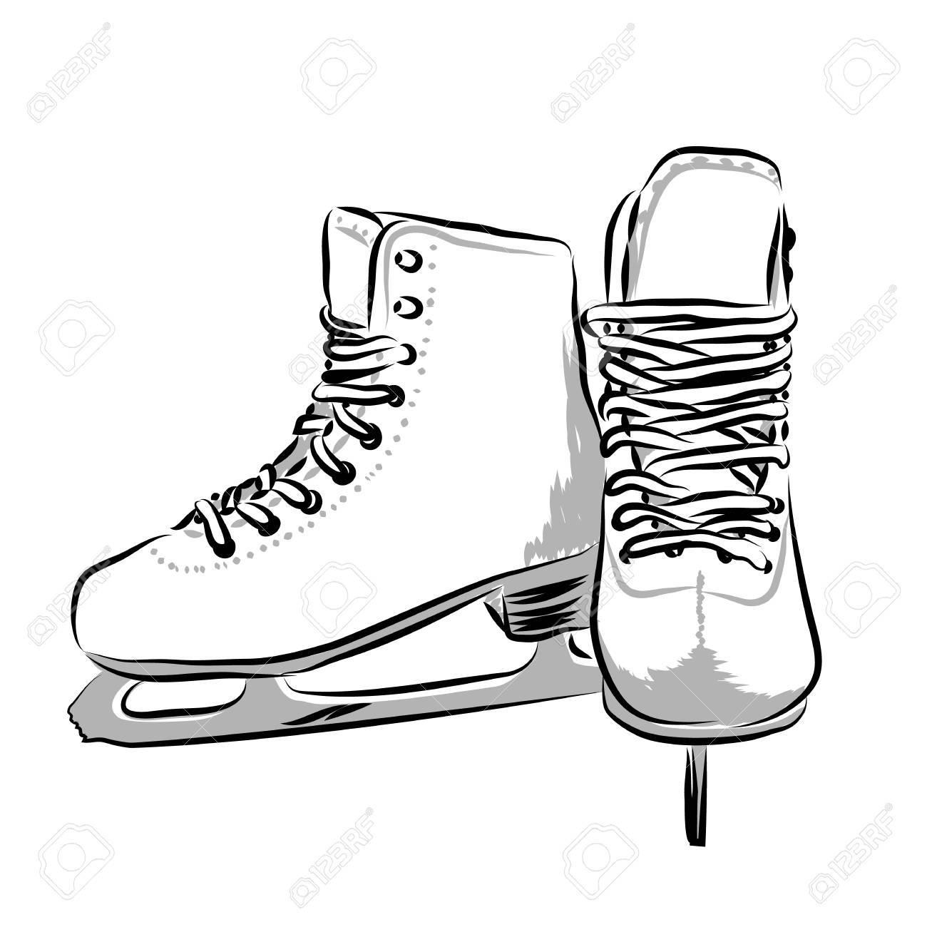 Ice Skate Drawing.