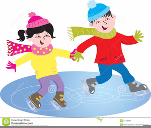 Kids Ice Skating Clipart.