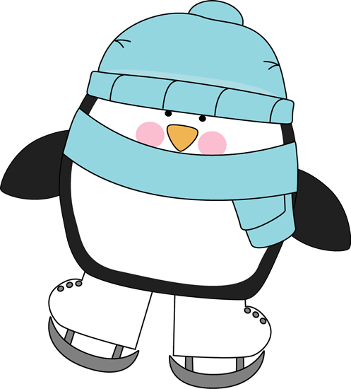 Cute Penguin Ice Skating Clip Art.