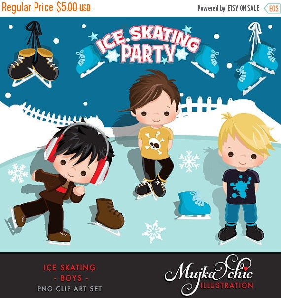 Ice Skating Party Boys Clipart Instant Download Winter Outdoor.