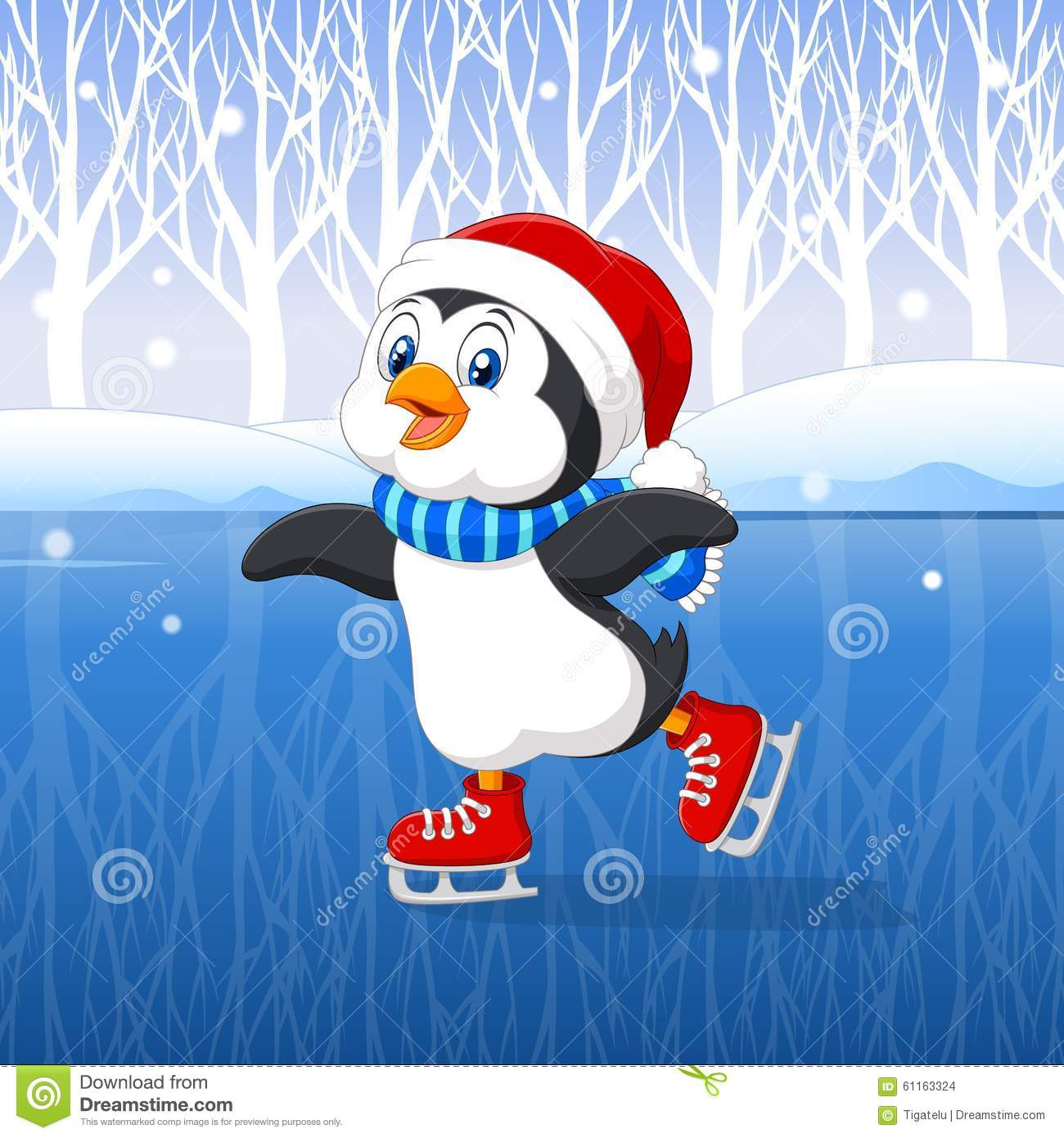 Cute Cartoon Penguin Doing Ice Skating With Winter Background.