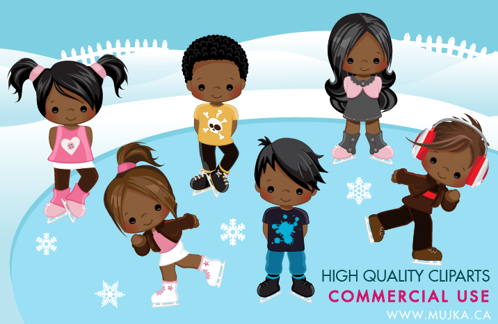 African American Ice Skating Characters Clipart.