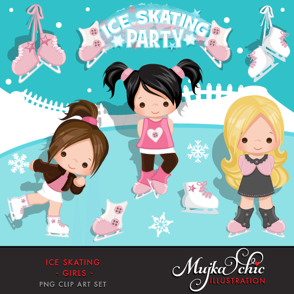 Ice Skating Party Girls Clipart Instant Download Winter Outdoor.