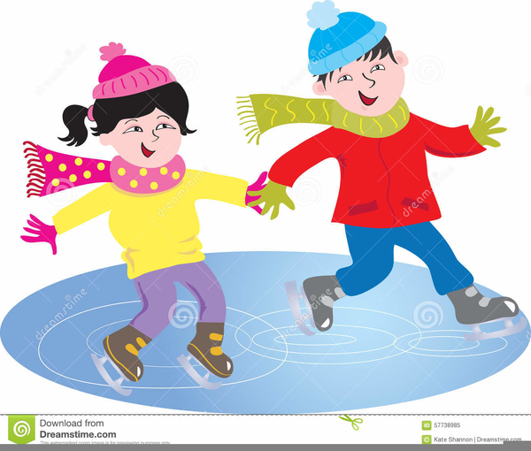 Kids Ice Skating Clipart.