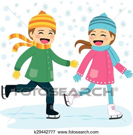 Boy and Girl Ice Skating Clip Art.