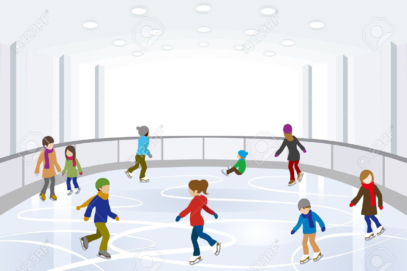 Family ice skating clipart.