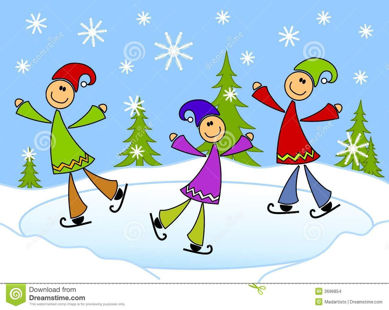 Cartoonish Kids Ice Skating On Pond Stock Illustration.