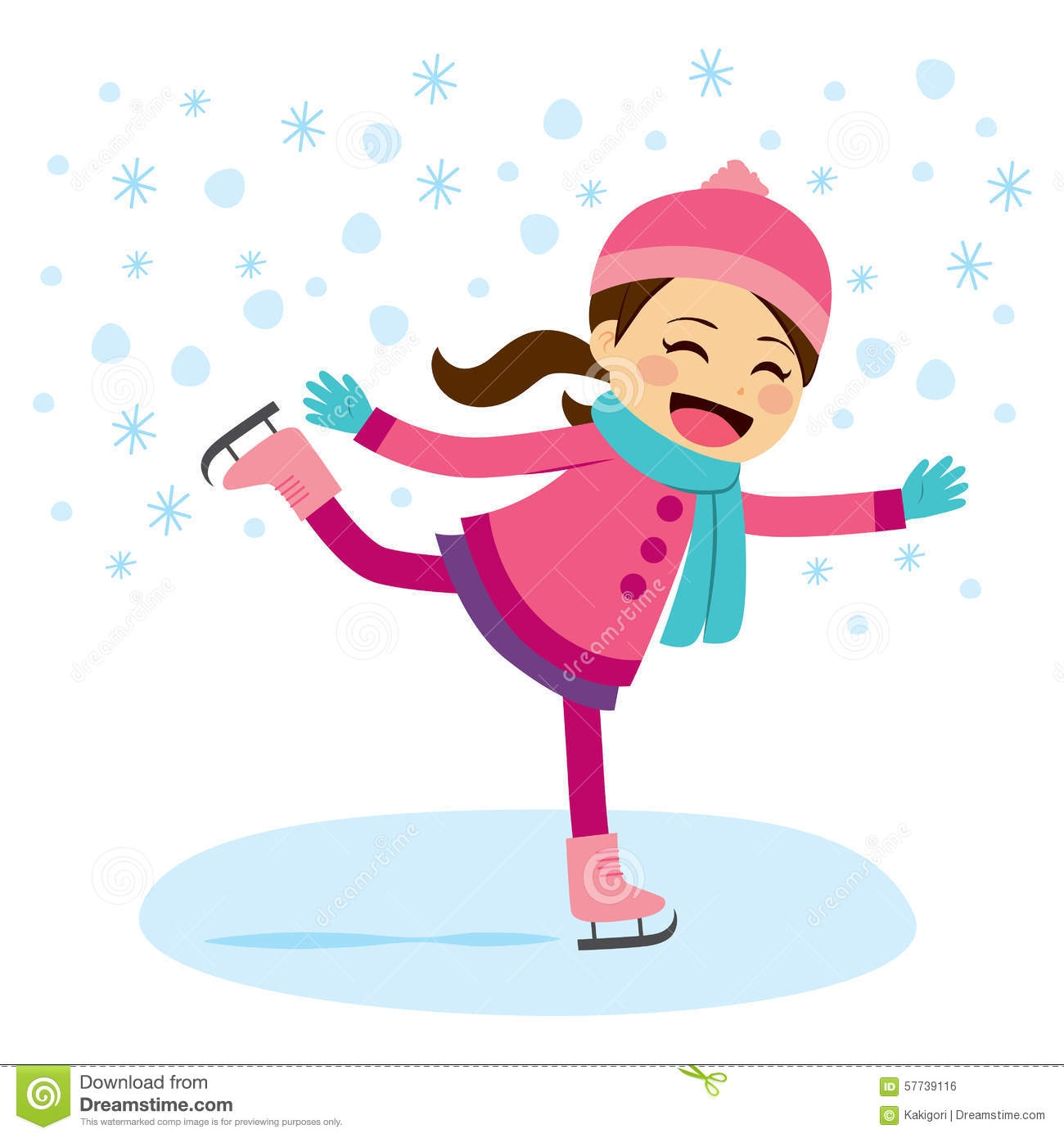 Ice skates clipart Unique Little Girl clipart skating Pencil and in.