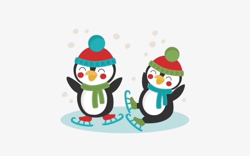 Penguins Ice Skating Svg Scrapbook Cut File Cute Clipart.