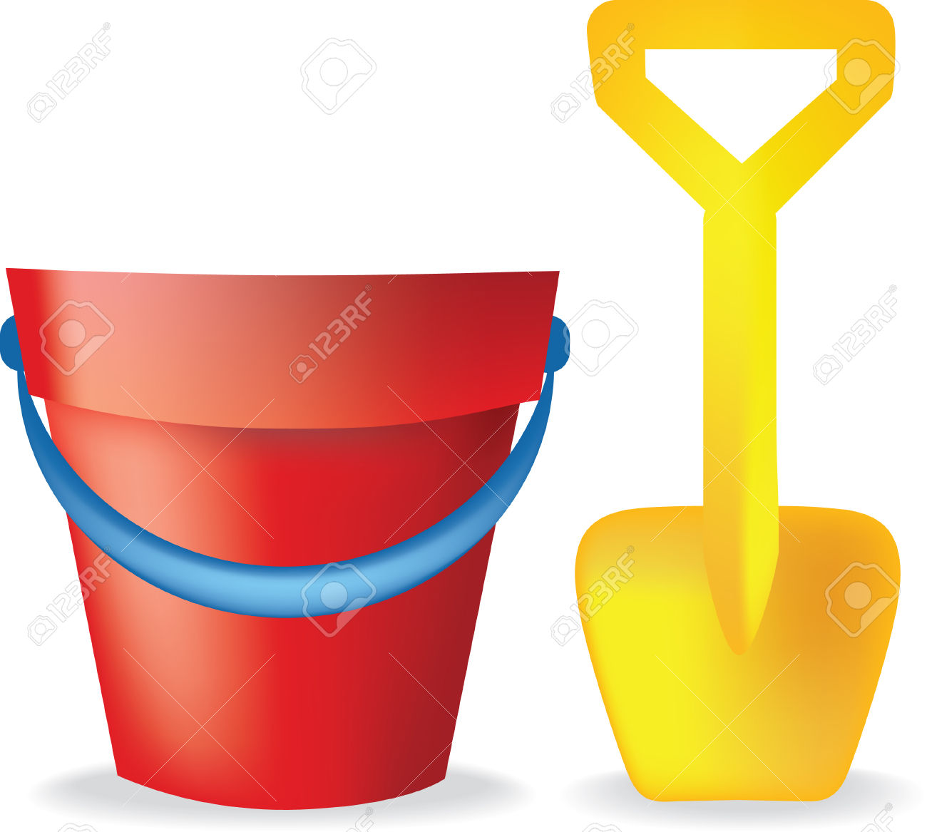 Bucket and spade clipart.