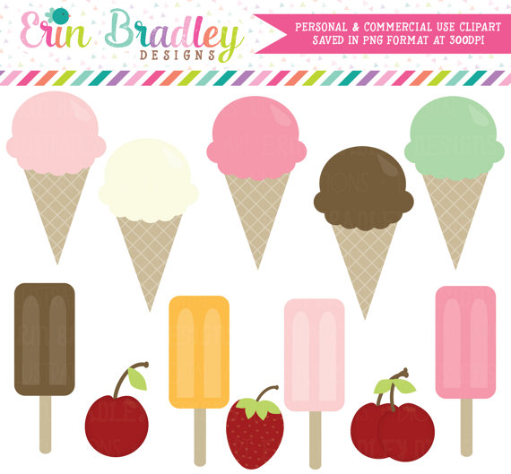 Ice Cream Cones Clipart Dessert Clip Art by ErinBradleyDesigns.
