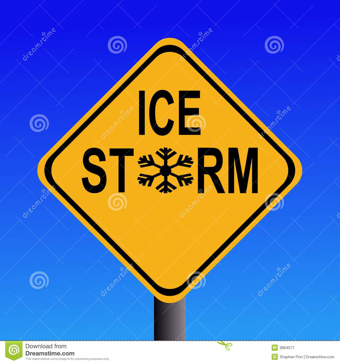 Warning Ice Storm Sign Stock Image.