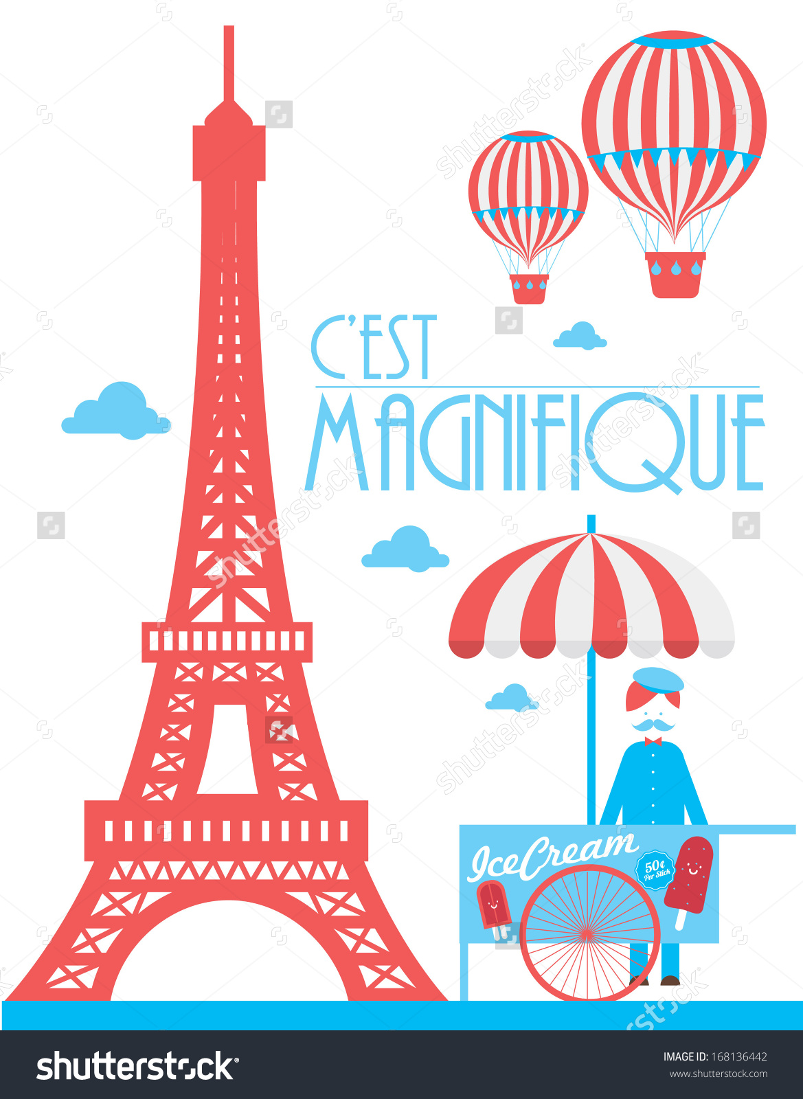 Eiffel Tower Paris Ice Cream Cart Stock Vector 168136442.