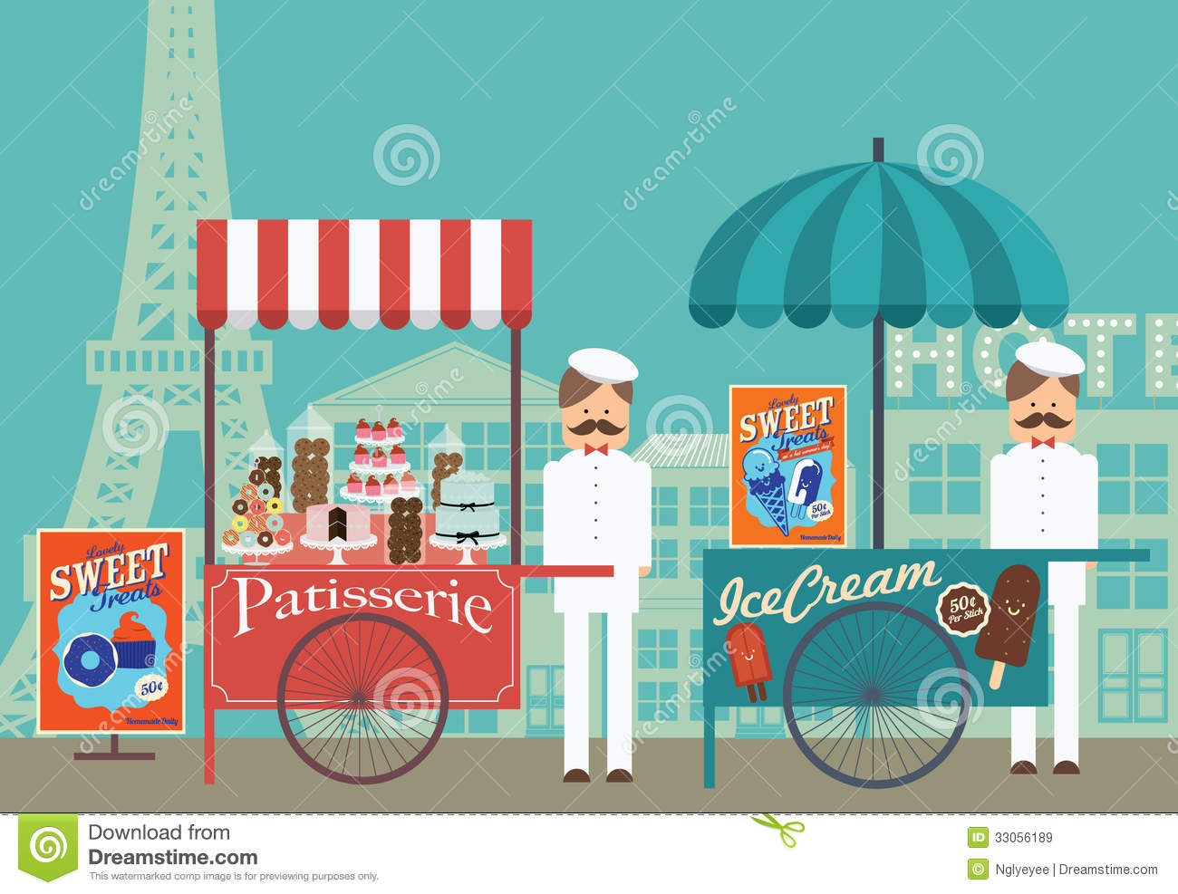Vintage Pastry And Ice Cream Vendor In Paris /illustration Royalty.
