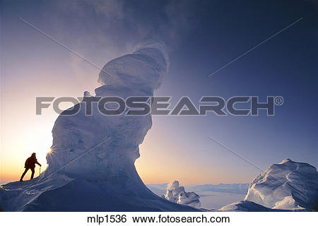 Stock Images of Midnight on Ice Tower ridge, Mt. Erubus.