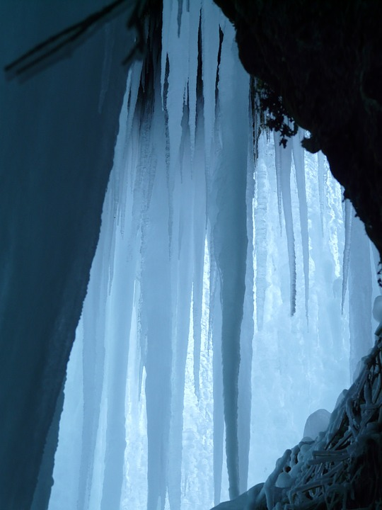 Free photo: Ice Cave, Ice Curtain, Icicle.