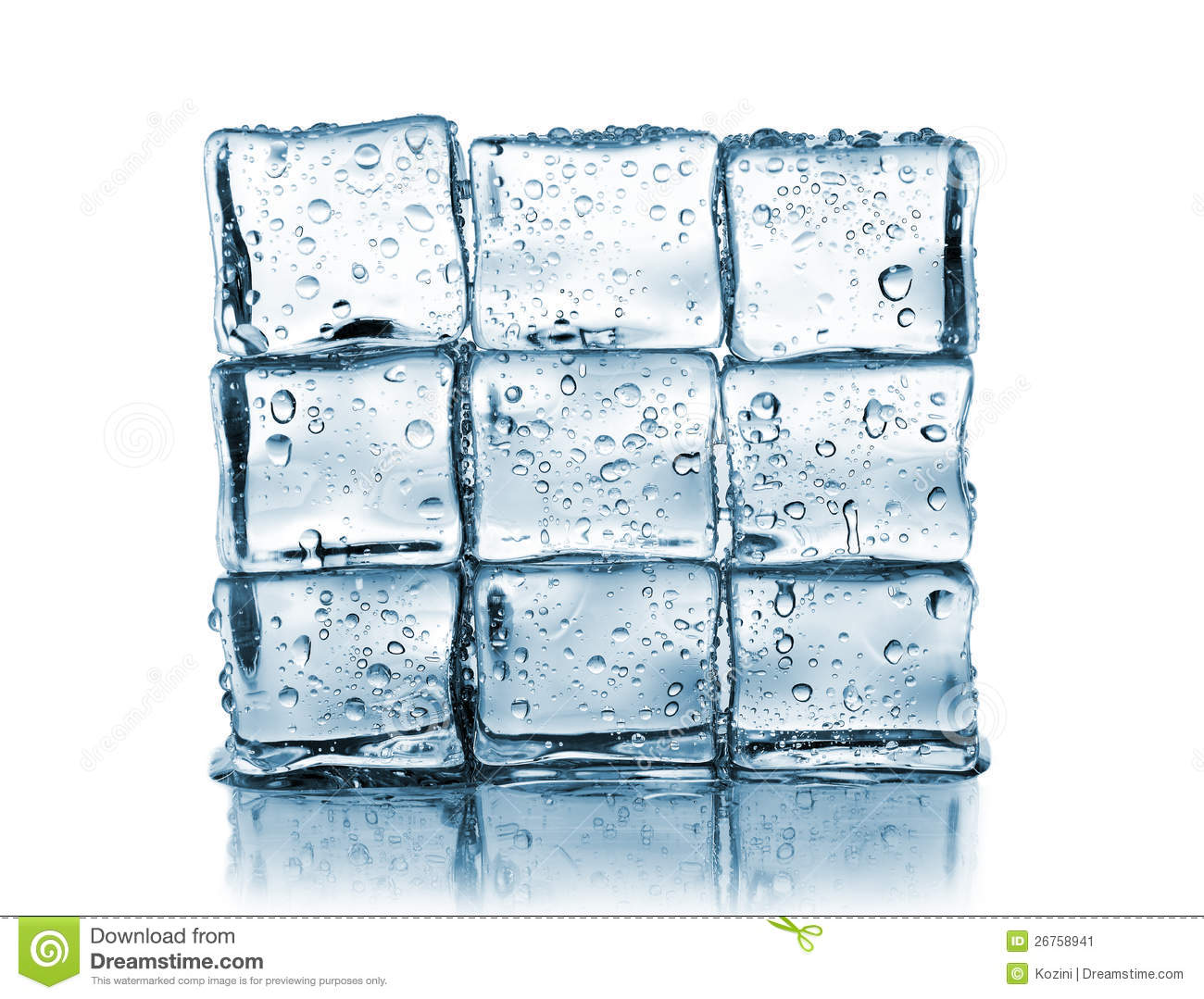 Wall Made of Ice Cubes Stock Image.