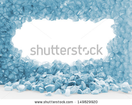 Broken Ice Wall Isolated On White Stock Illustration 148632581.