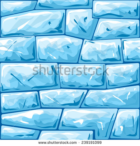 Vector Illustration Of Blue Ice Brick Seamless Pattern.