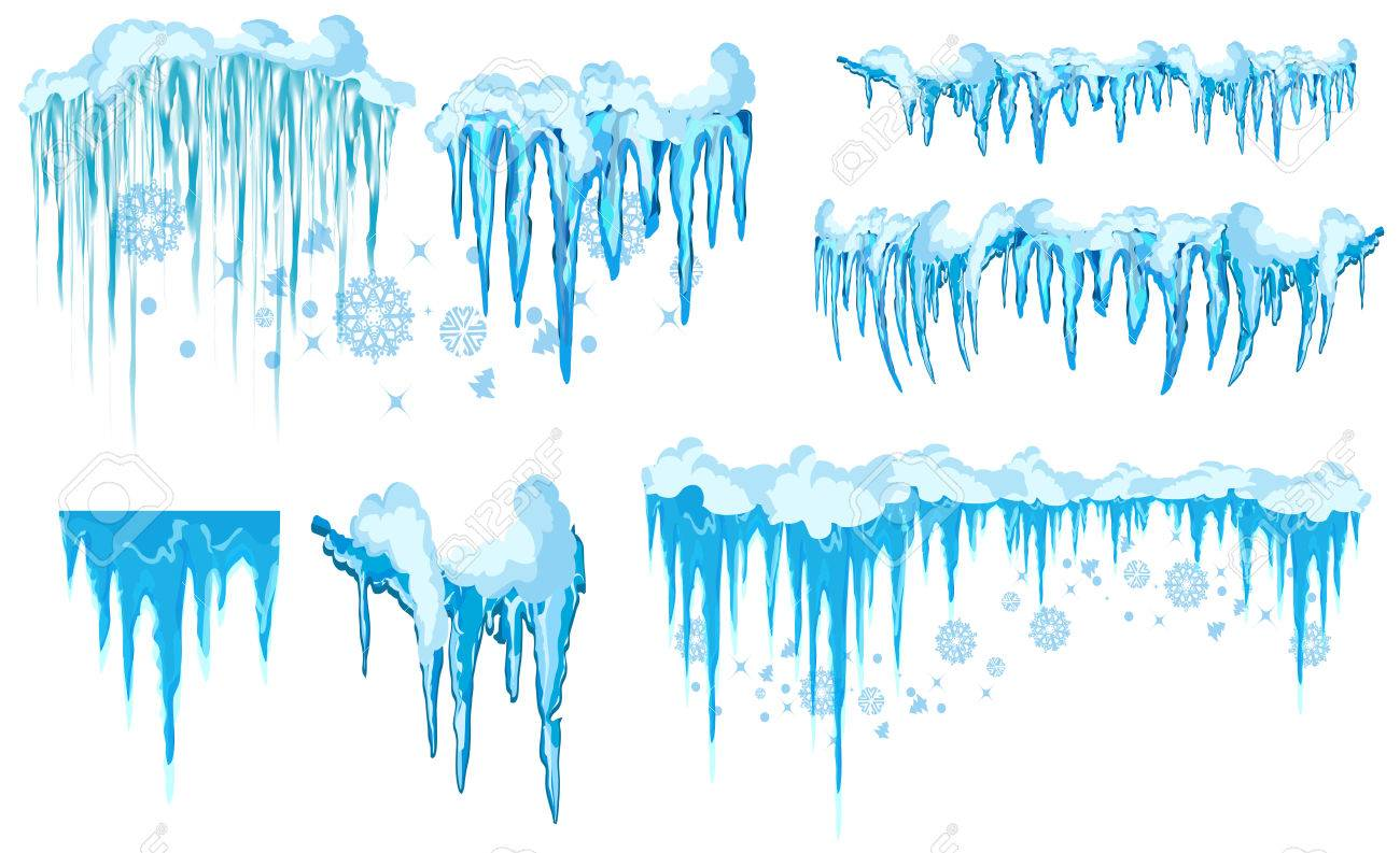Vector icicle and snow elements clipart. Different snow cap vector.