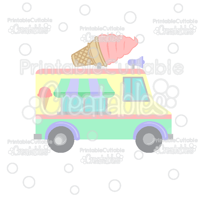Ice Cream Truck SVG Cut File & Clipart for Silhouette, Cricut, Pazzles.