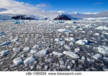 Stock Photo of View of brash ice and snow.