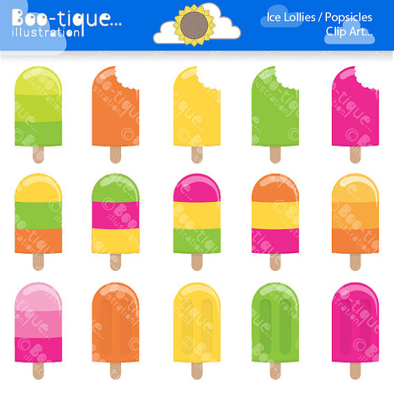 Ice Lolly Clipart Popsicle Clipart Ice by BootiqueIllustration.