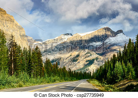 Stock Photo of Scenic view of the road on Icefields parkway.