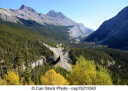 Stock Photo of Big Bend on The Icefield Parkway in autumn.
