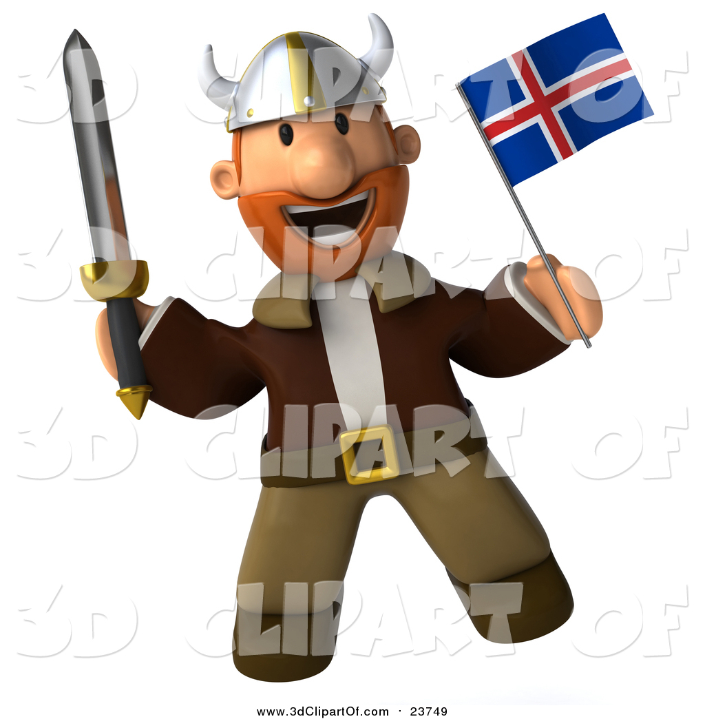 Clip Art of a 3d Young Viking Holding an Iceland Flag and Sword by.