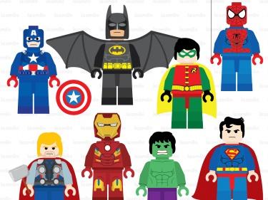 Lego Superhero Digital Clipart.