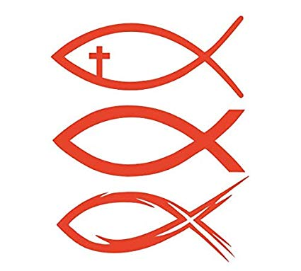 Amazon.com: 3x Fish Red Christian Jesus Cross 6\