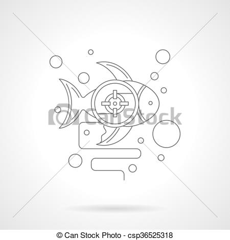 Vector Clip Art of Underwater photo hunt detailed line vector icon.