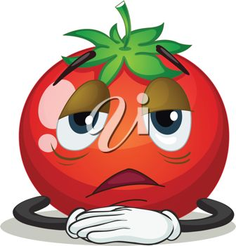Clip Art Illustration of a Tired Tomato.