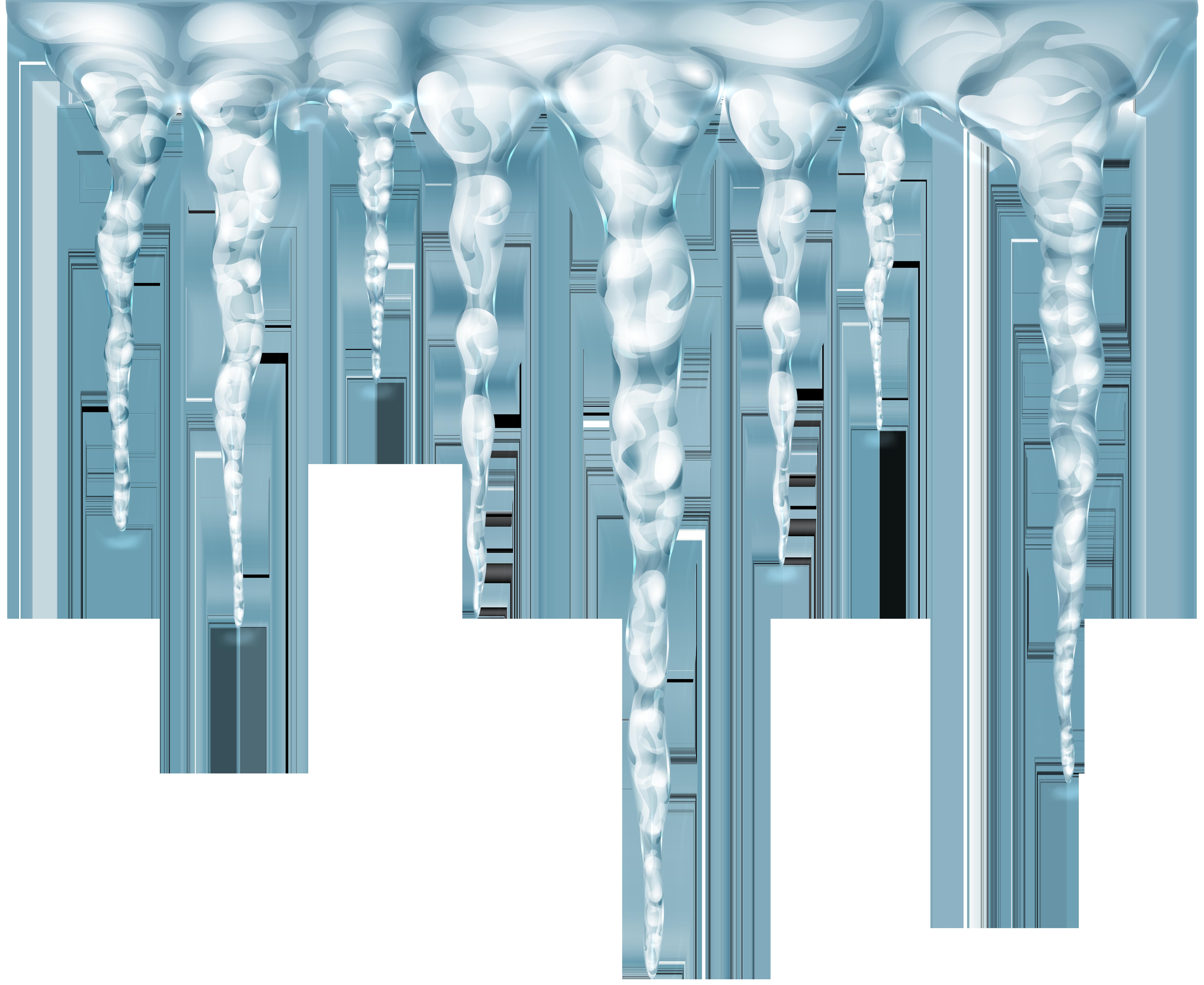Transparent Icicles PNG Clip Art Image.