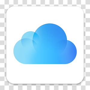 OS X Yosemite iCloud Icons, blue cloud transparent.