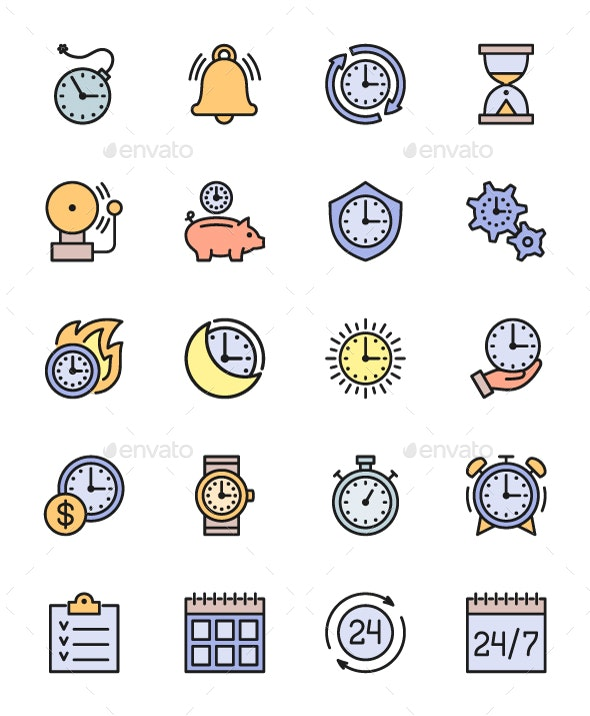 Set Of Time Management Color Icons. Pack Of 64x64 Pixel Icons.