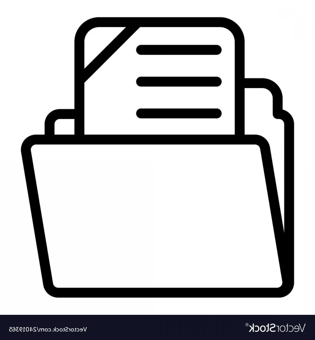 File Folder Line Icon Archive Vector.