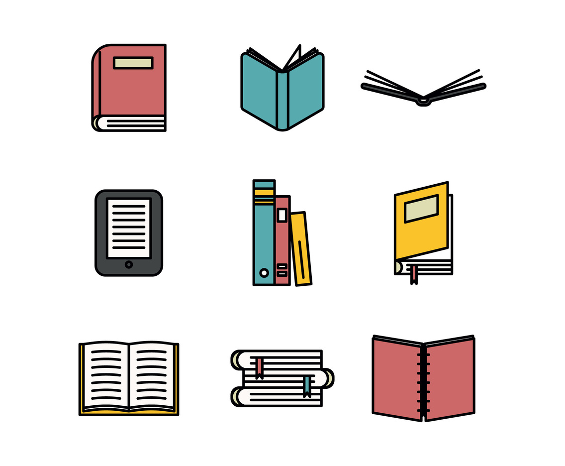 Book Icon Outlined Set Vector Art & Graphics.