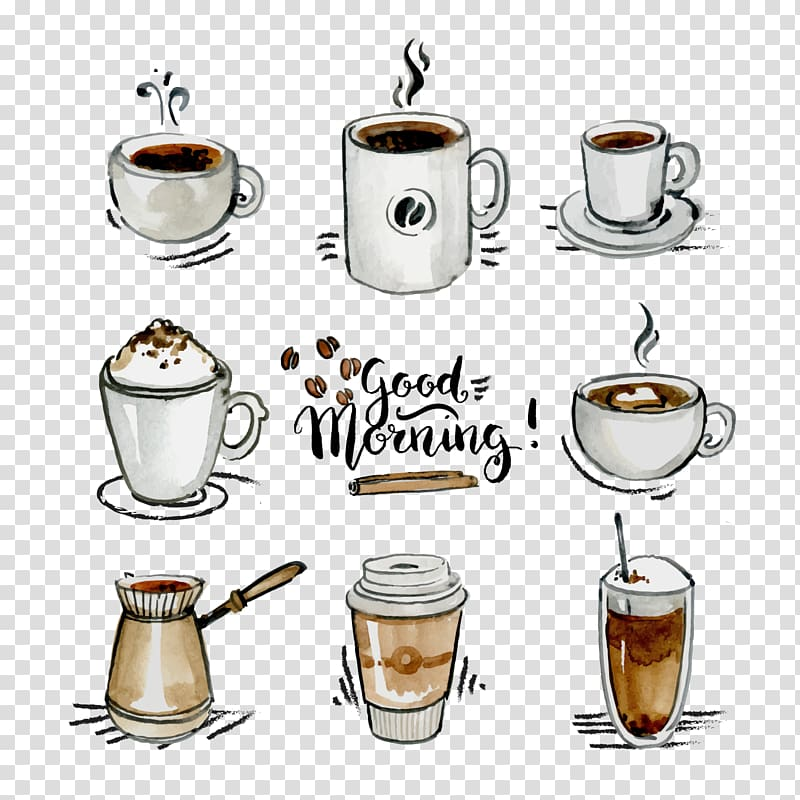 Assorted beverage illustration with good morning text.
