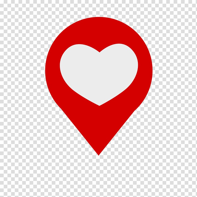 Red and white heart GPS icon, Love Symbol South Spa Mario\'s.