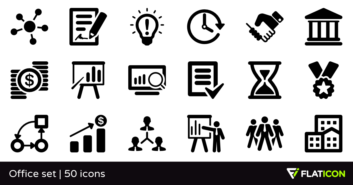 Office set 50 free icons (SVG, EPS, PSD, PNG files).